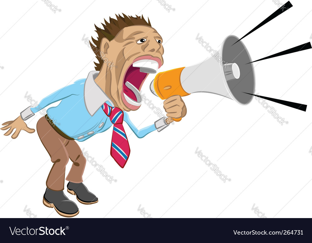 Man shouting into megaphone vector | Price: 1 Credit (USD $1)