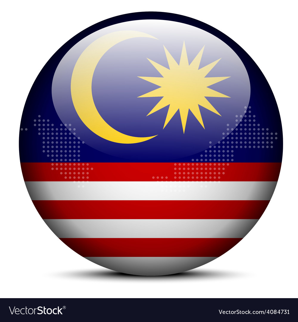 Map with dot pattern on flag button of malaysia vector | Price: 1 Credit (USD $1)