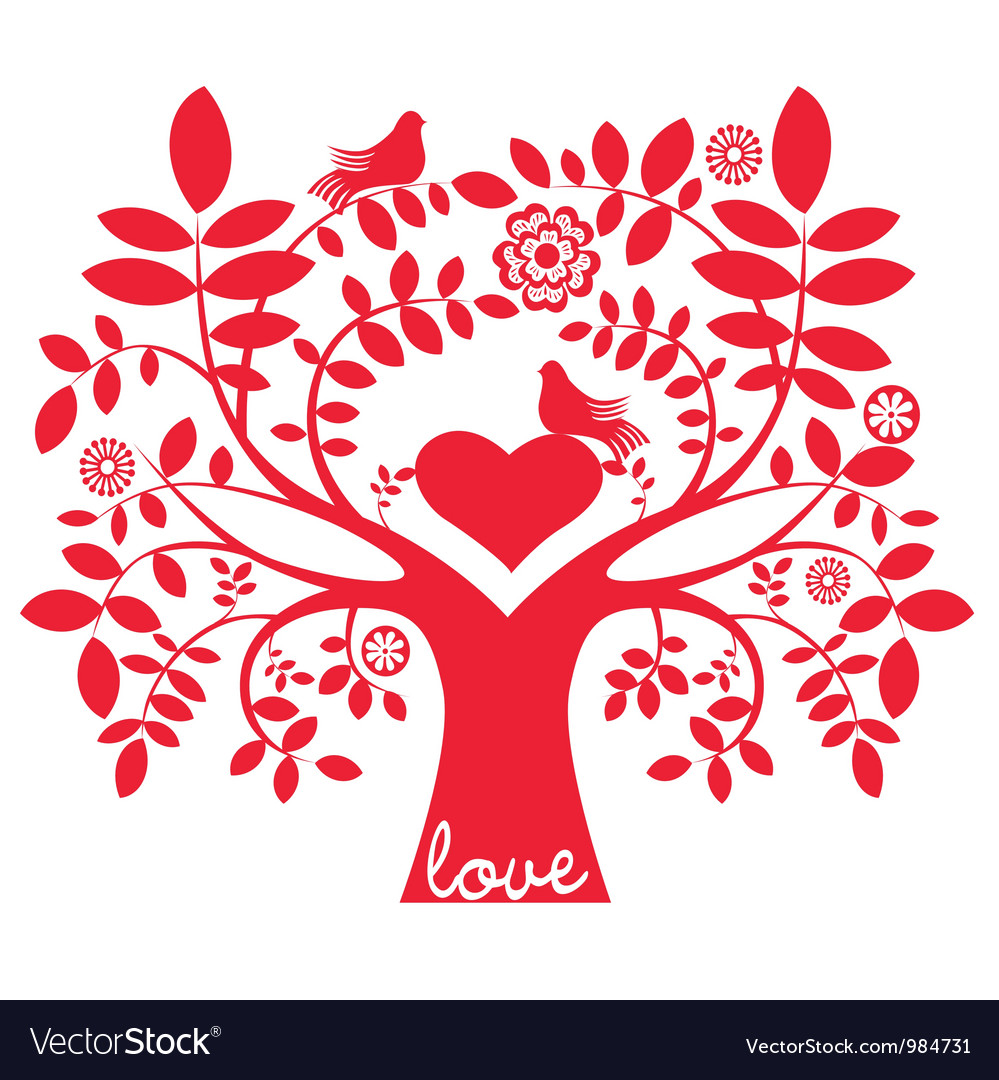 One color love message tree with birds vector | Price: 1 Credit (USD $1)
