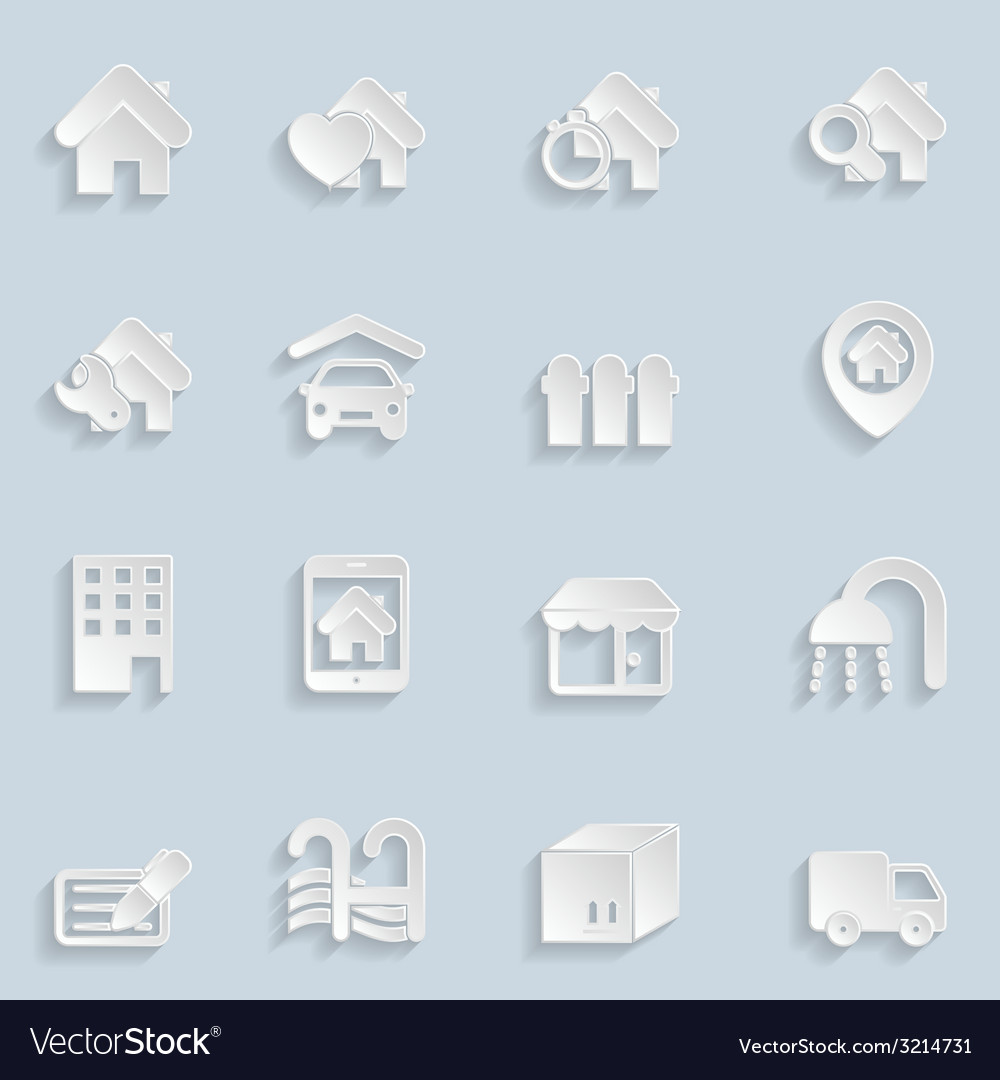 Paper real estate icons vector | Price: 1 Credit (USD $1)