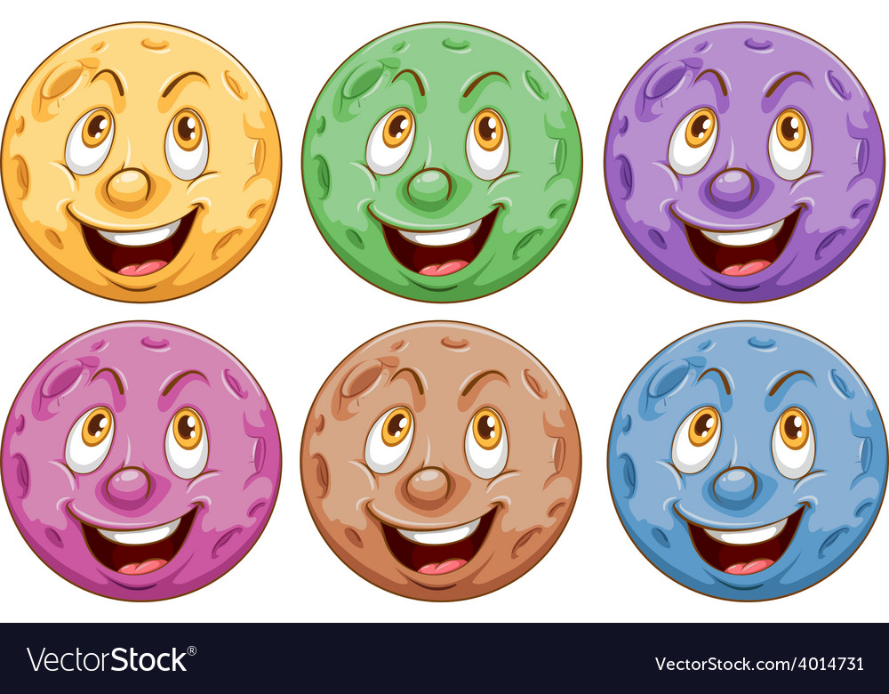 Planets with faces vector | Price: 3 Credit (USD $3)