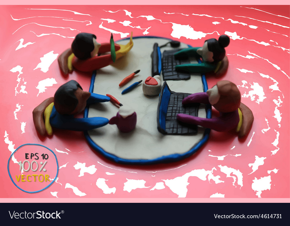 Plasticine modeling office workers business vector | Price: 1 Credit (USD $1)