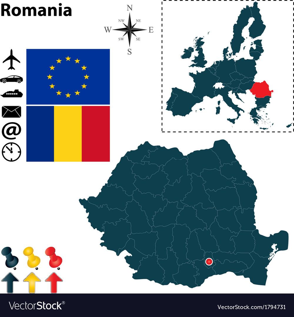 Romania and european union map vector | Price: 1 Credit (USD $1)