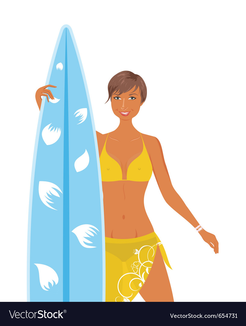 Surfer girl vector | Price: 3 Credit (USD $3)