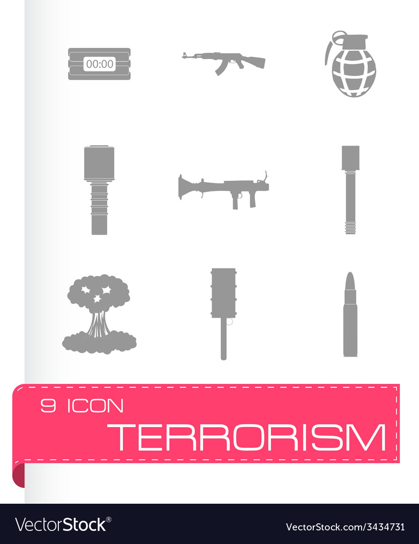 Terrorism icons set vector | Price: 1 Credit (USD $1)