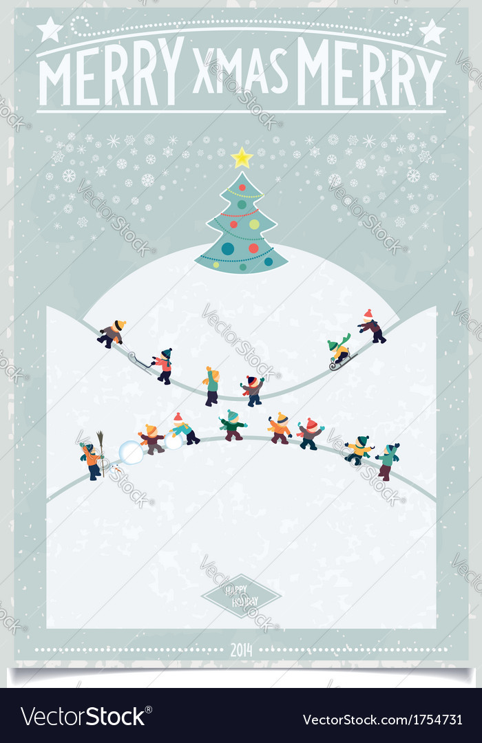 Vintage christmas card with playing child vector | Price: 1 Credit (USD $1)