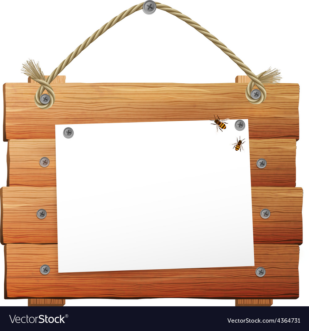Wooden sign with rope vector | Price: 1 Credit (USD $1)