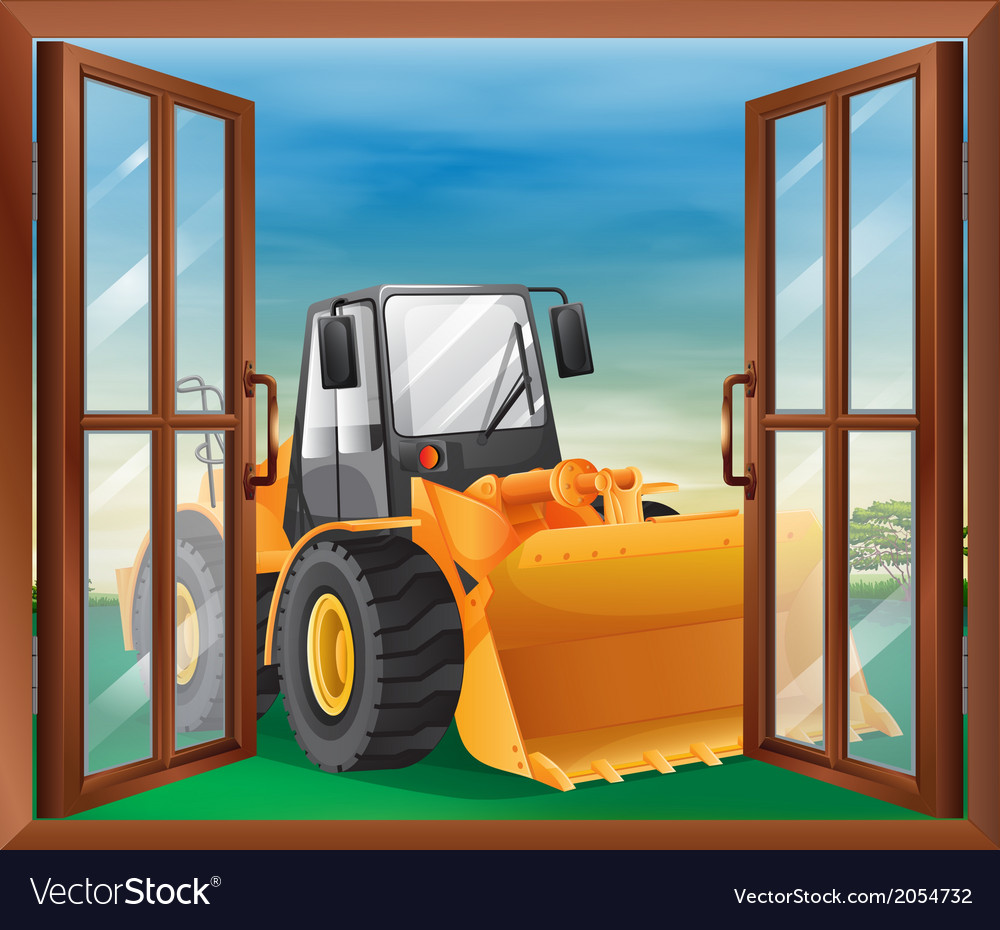 A window with a bulldozer vector | Price: 1 Credit (USD $1)