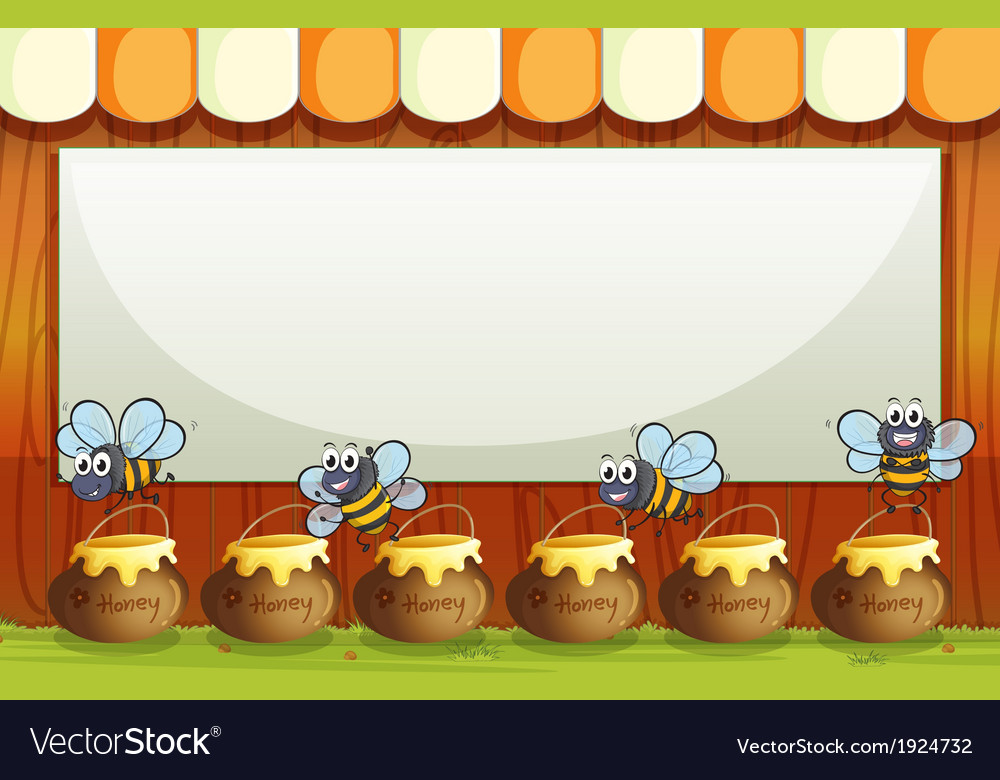 An empty template with pots and bees at the bottom vector | Price: 3 Credit (USD $3)