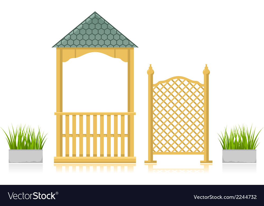 Gazebo with wooden lattice and grass vector | Price: 1 Credit (USD $1)