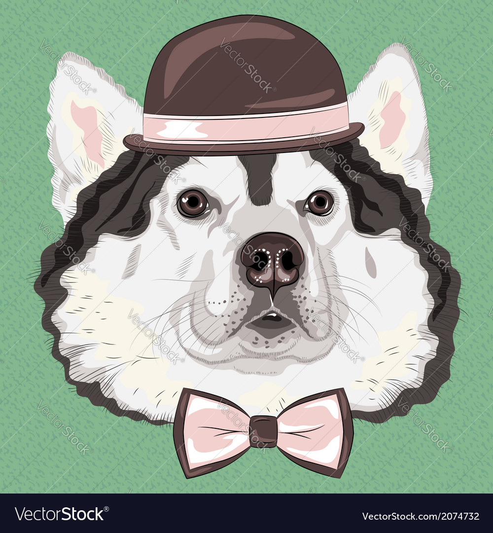 Hipster dog alaskan malamute vector | Price: 1 Credit (USD $1)
