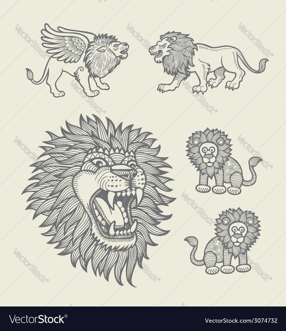 Lion decoration sketches vector | Price: 1 Credit (USD $1)