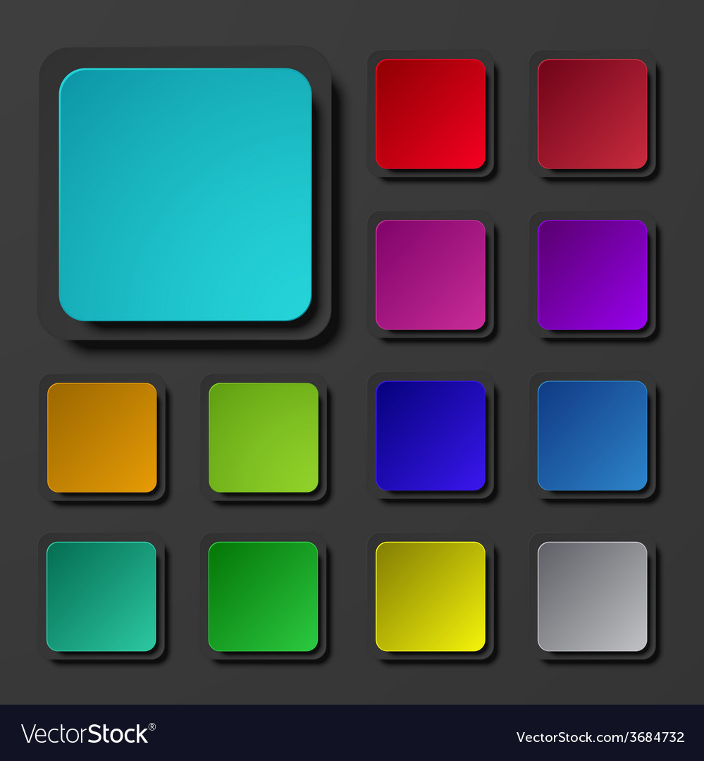 Modern colorful square icons set vector
