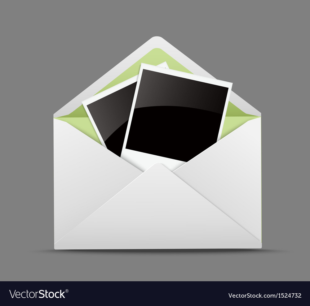 Open envelope with photo frames vector | Price: 1 Credit (USD $1)