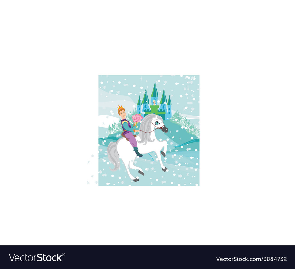 Prince riding a horse to the princess on a winter vector | Price: 1 Credit (USD $1)