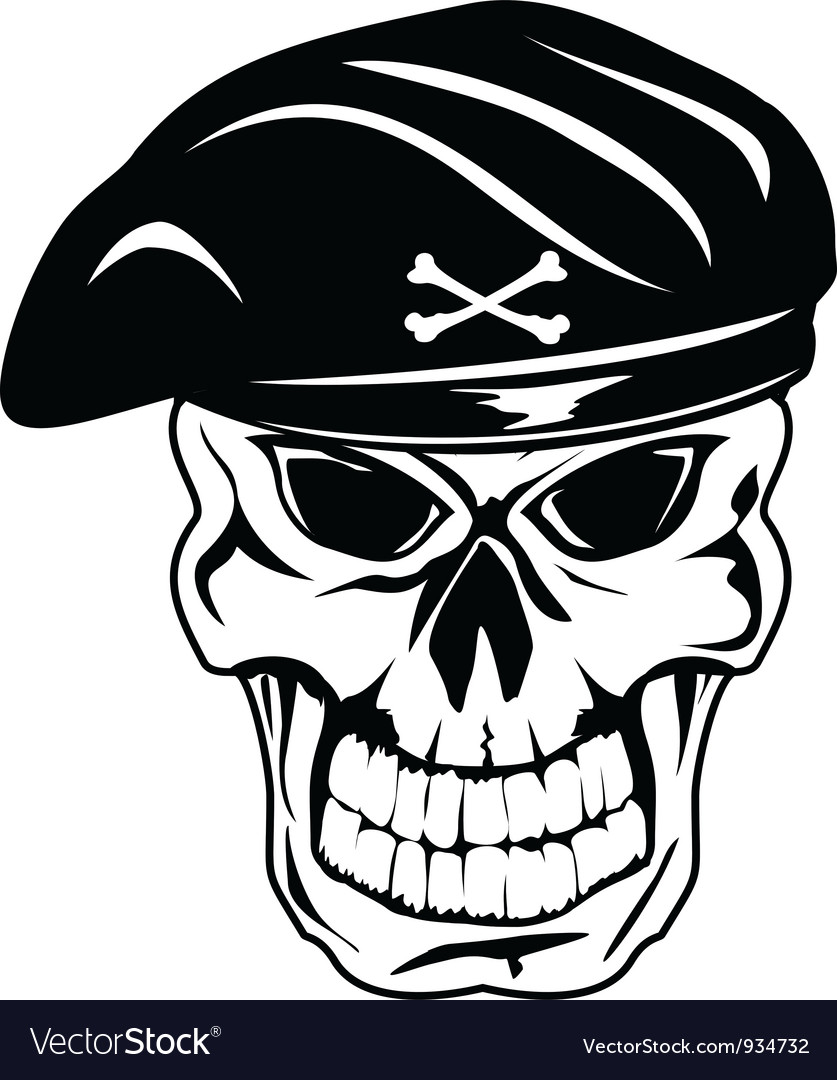 Skull in beret vector | Price: 1 Credit (USD $1)