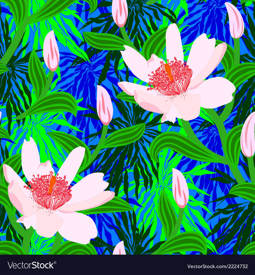 Tropical pattern with jungle flowers vector | Price: 1 Credit (USD $1)