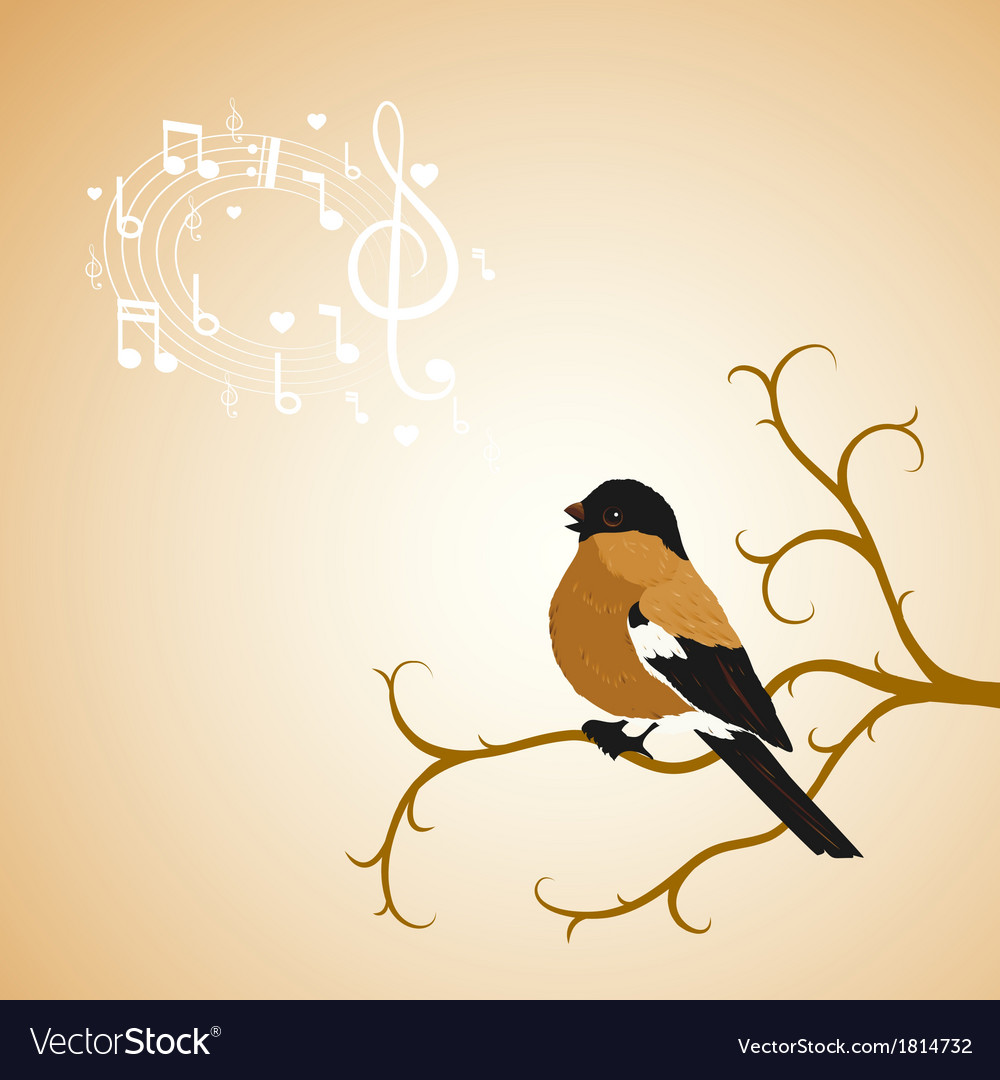 Winter bullfinch bird tweets on a tree branch vector | Price: 1 Credit (USD $1)