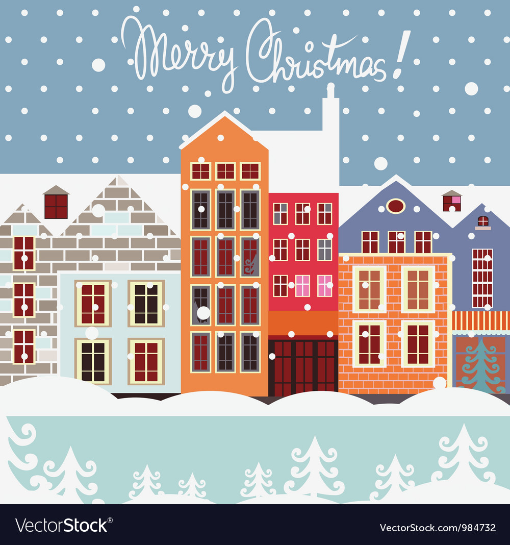 Winter street christmas postcard vector | Price: 3 Credit (USD $3)