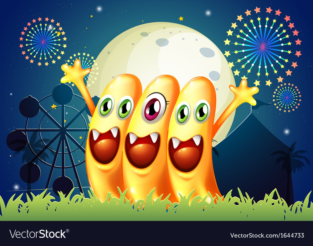 An amusement park with three happy monsters vector | Price: 3 Credit (USD $3)