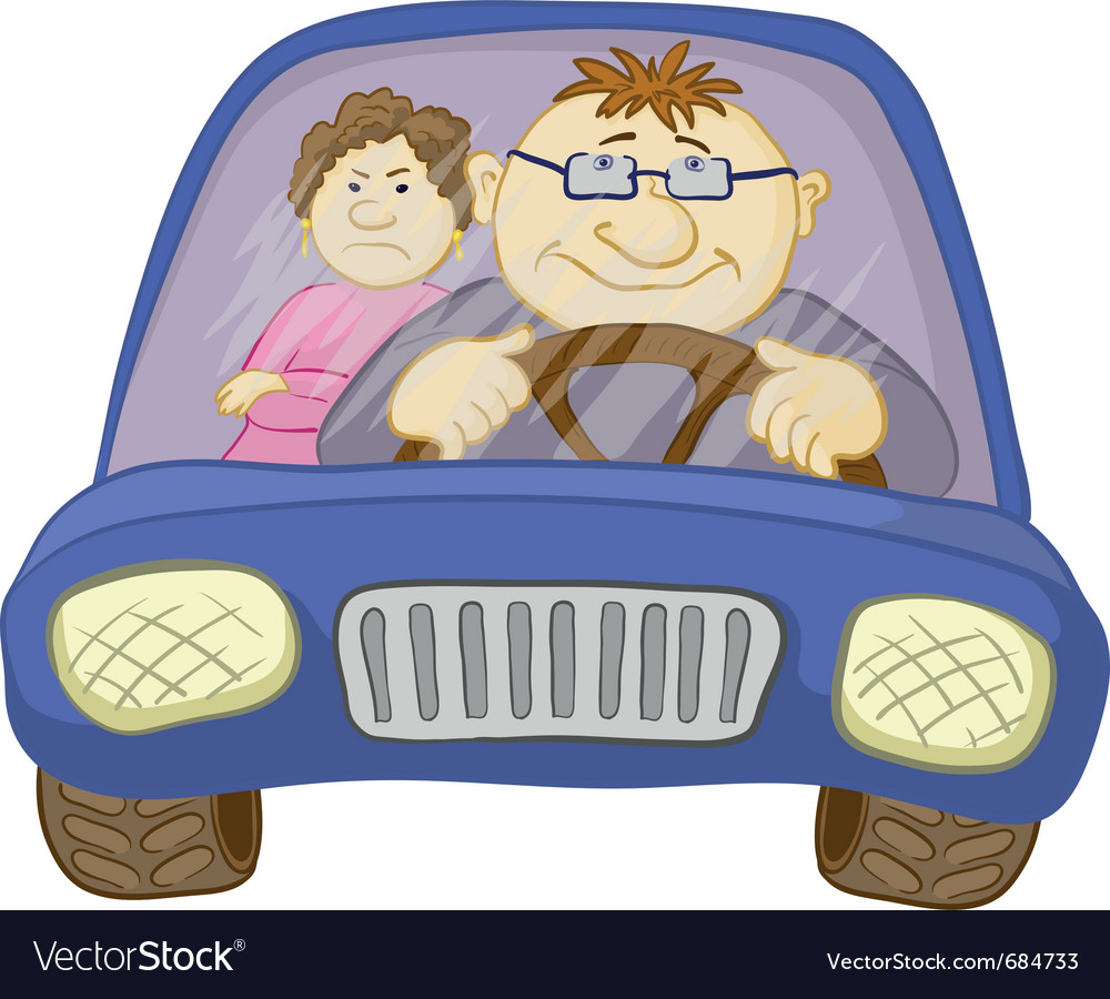 Car driver and passenger vector | Price: 1 Credit (USD $1)