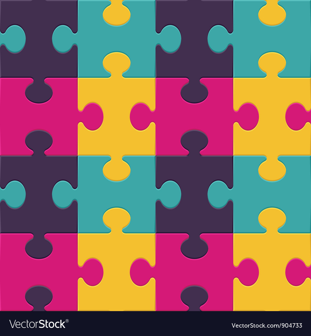 Colorful puzzle seamless background pattern vector | Price: 1 Credit (USD $1)