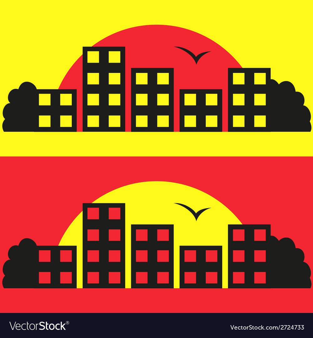 Contrast city silhouette vector | Price: 1 Credit (USD $1)