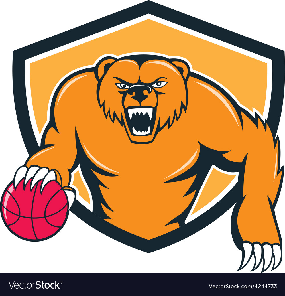 Grizzly bear angry dribbling basketball shield vector | Price: 1 Credit (USD $1)