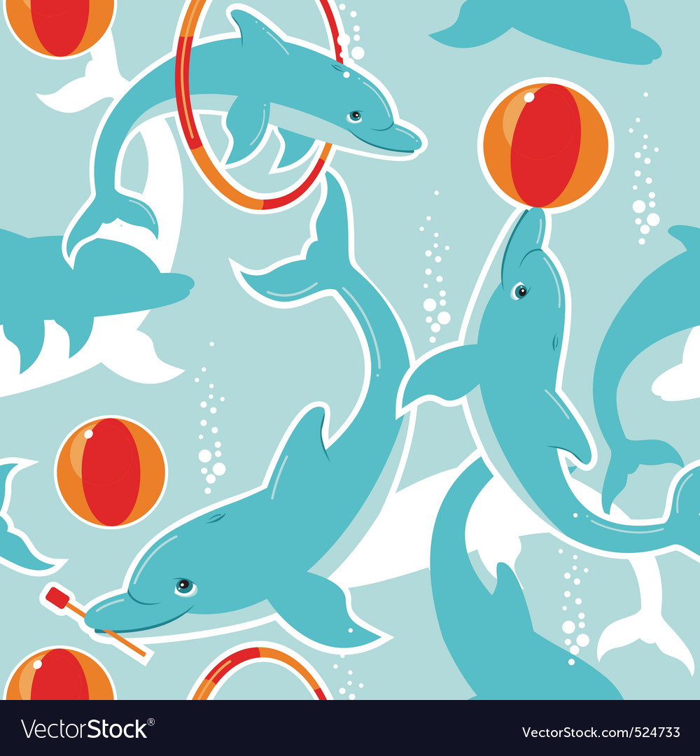 Playful dolphins vector