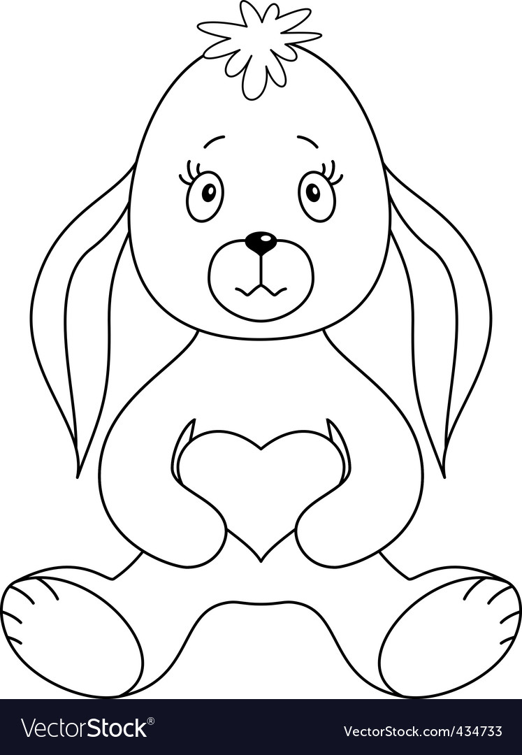 Rabbit with heart vector | Price: 1 Credit (USD $1)