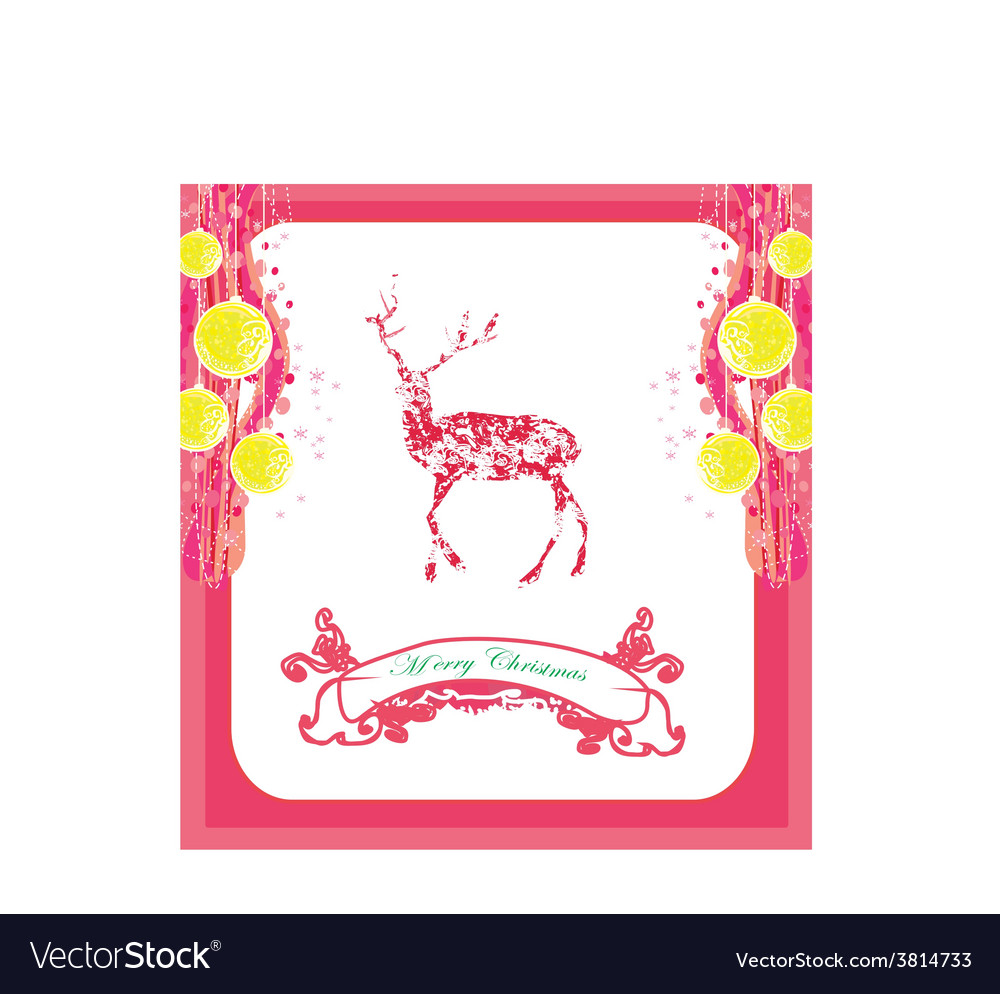 Reindeer design abstract christmas card vector | Price: 1 Credit (USD $1)