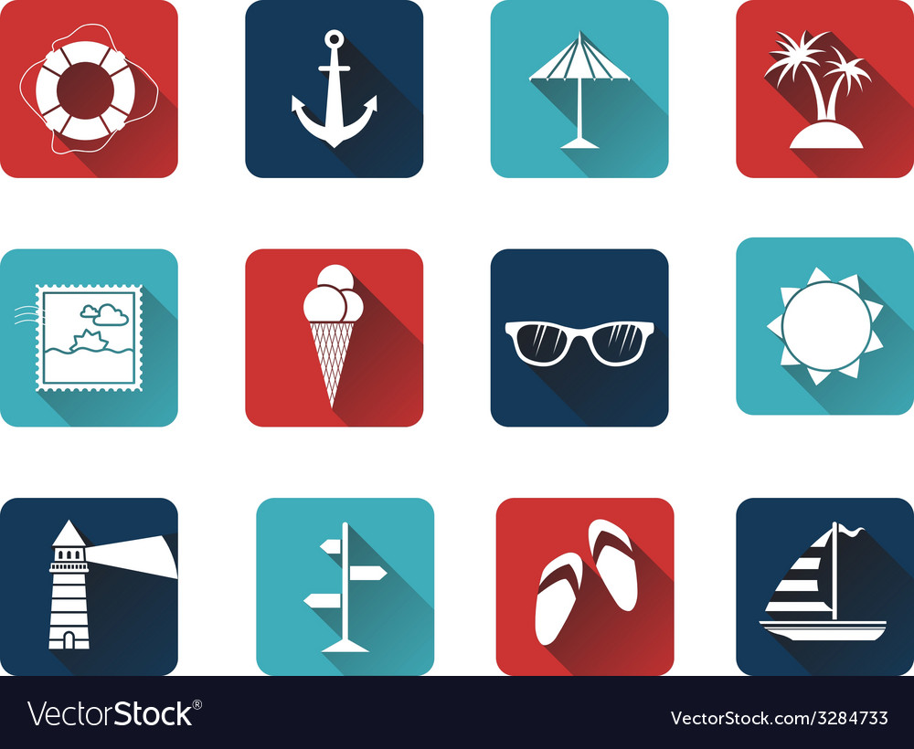 Set of 12 square icons with long flat shadow vector | Price: 1 Credit (USD $1)