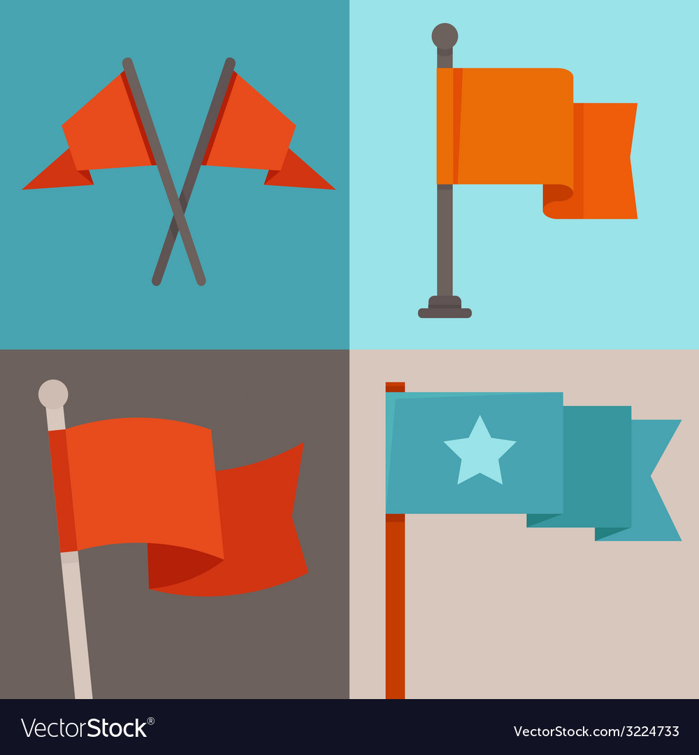 Set of flag design elements vector | Price: 1 Credit (USD $1)