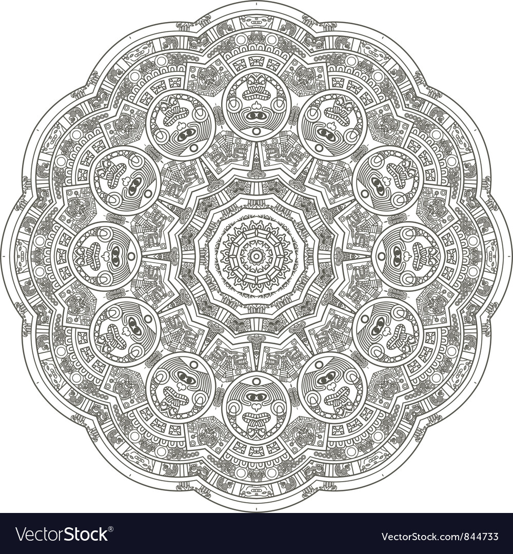 Stylized aztec calendar vector | Price: 1 Credit (USD $1)