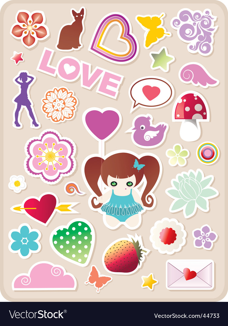 Valentines stickers vector | Price: 1 Credit (USD $1)