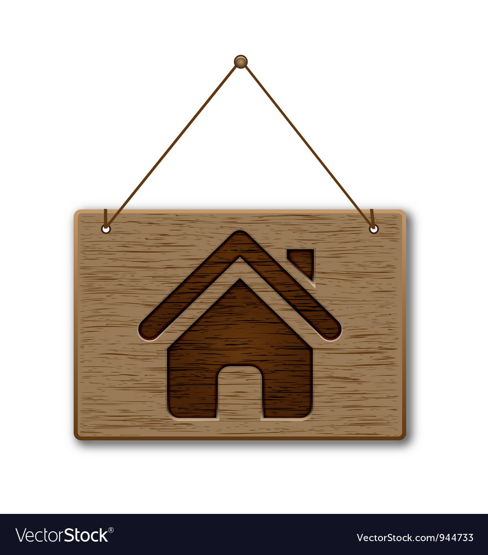 Wooden signpost on the home icon vector | Price: 1 Credit (USD $1)