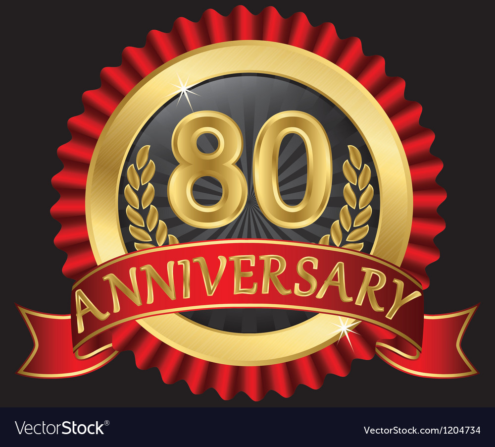 80 years anniversary golden label with ribbon vector | Price: 3 Credit (USD $3)