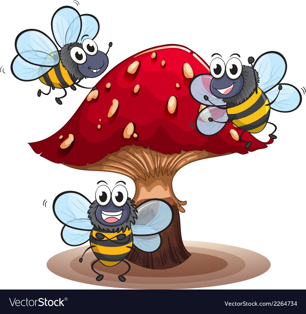 A big mushroom with smiling bees vector | Price: 1 Credit (USD $1)