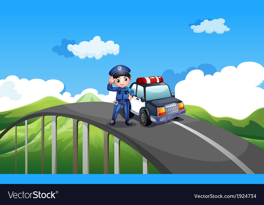 A policeman and his patrol car in the middle of vector | Price: 3 Credit (USD $3)