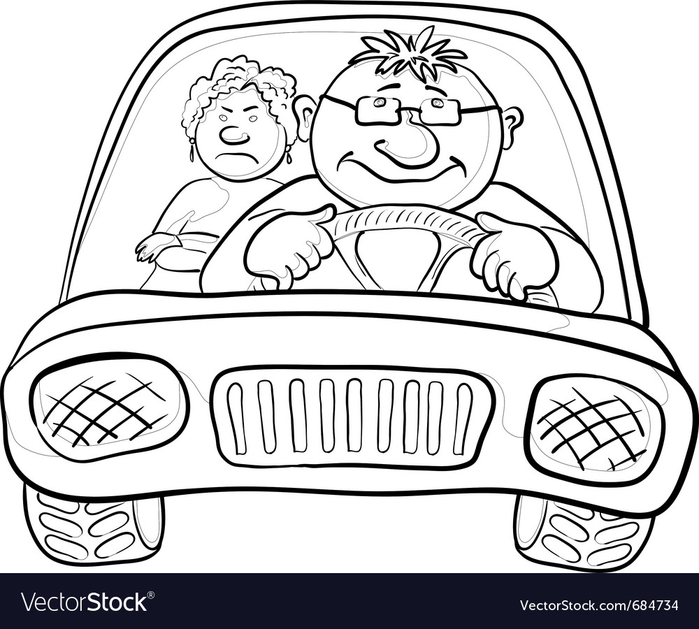 Car driver and passenger contours vector | Price: 1 Credit (USD $1)