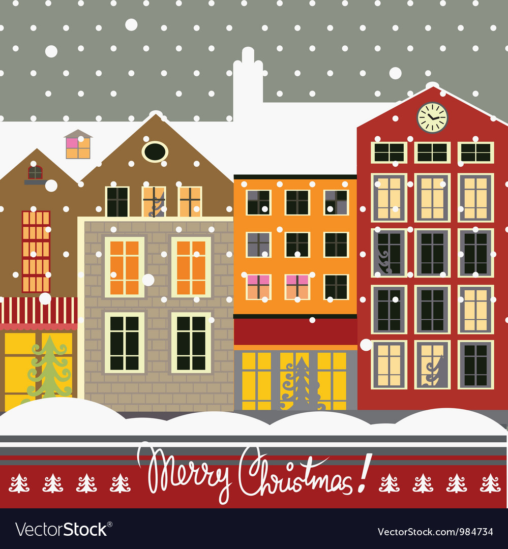 Christmas city vector | Price: 3 Credit (USD $3)