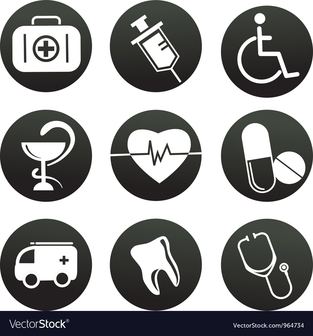 Collection of medical themed icons  black white vector | Price: 1 Credit (USD $1)