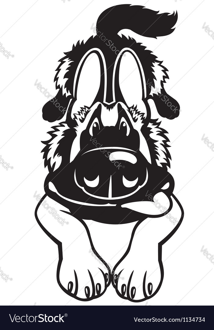 Doggy black white vector | Price: 1 Credit (USD $1)