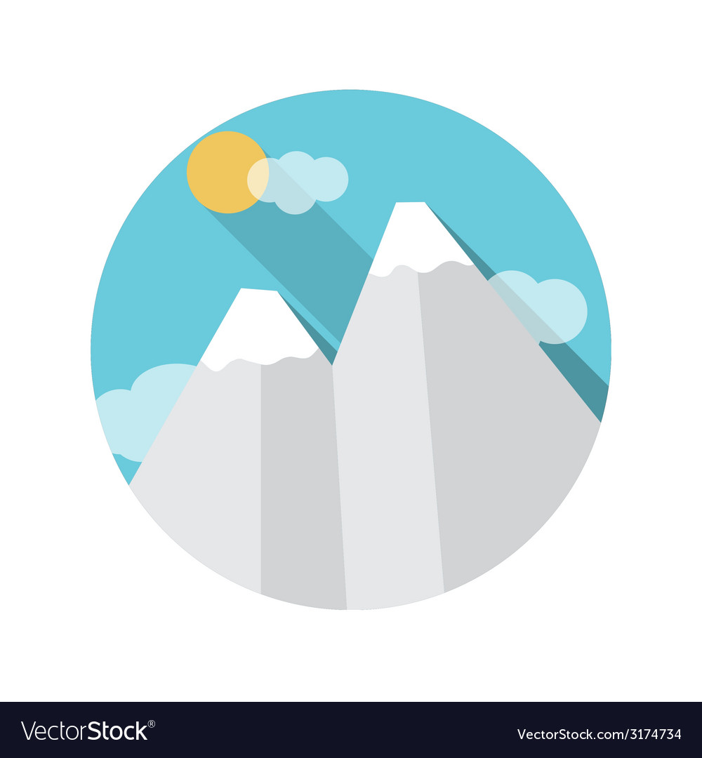 Flat design concept mountains with long shad vector | Price: 1 Credit (USD $1)