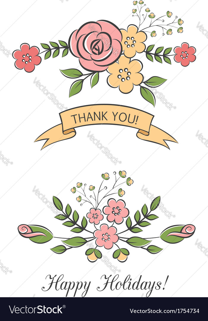 Floral bouquets with ribbon vector | Price:  Credit (USD $)