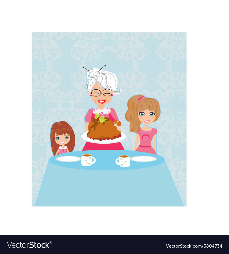 Grandma bringing thanksgiving turkey to the dinner vector | Price: 1 Credit (USD $1)