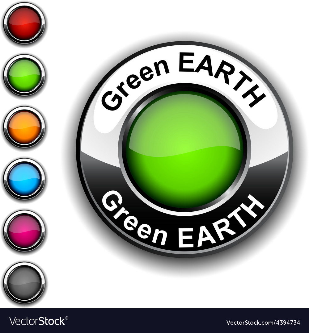 Green earth button vector   Price: 1 Credit (USD $1)