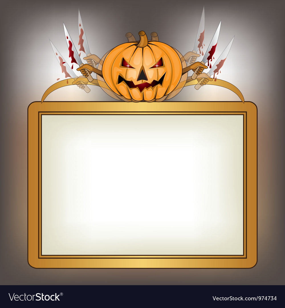 Halloween background with killer pumpkin vector | Price: 1 Credit (USD $1)