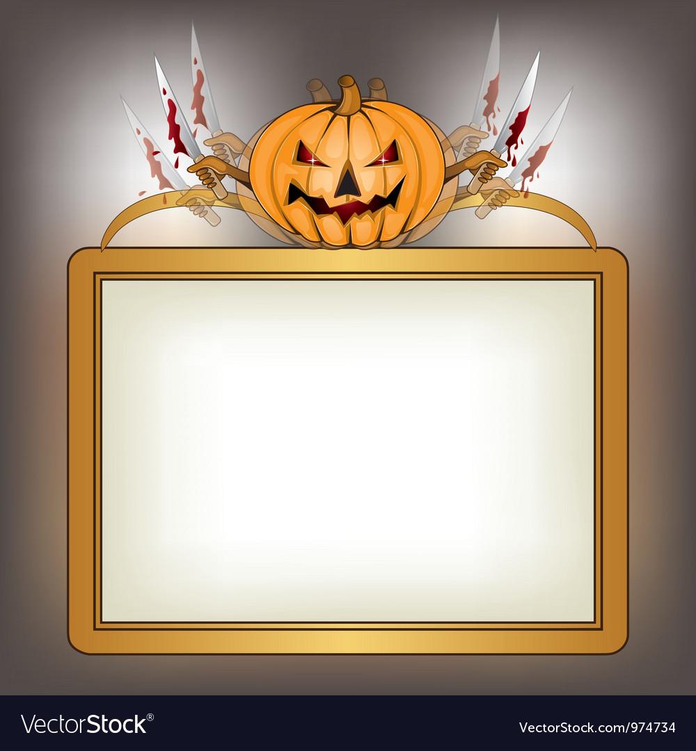 Halloween background with killer pumpkin vector   Price: 1 Credit (USD $1)