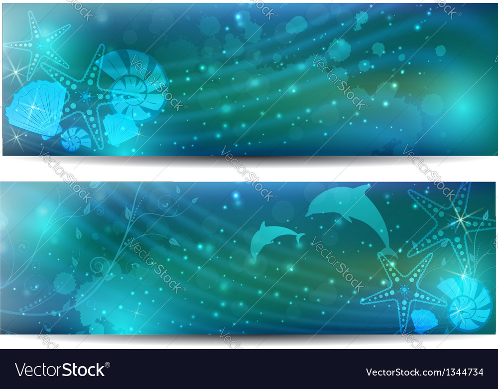 Sea abstract banner vector | Price: 1 Credit (USD $1)